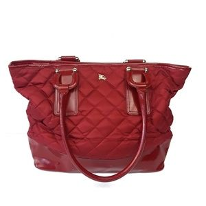 Rare Burberry Quilted Nylon Tote in Red